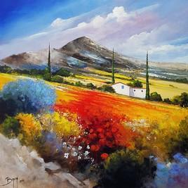 Mas au pied de la montagne - ©Bruni Eric. Tous droits réservés - Tableau peinture Provence