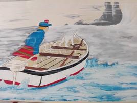 Peinture de Tintin et Milou , L'ile Noir