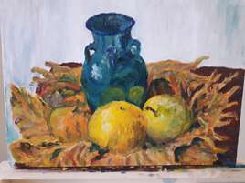 nature morte vase et fruits