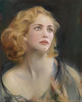 Emmanuelle Béart revisite une peinture de Philip Alexius de Laszlo.