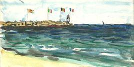 138  CANET La jetée,les drapeaux   1991