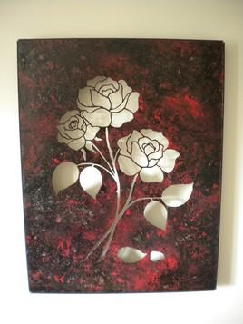 tableau évidé roses