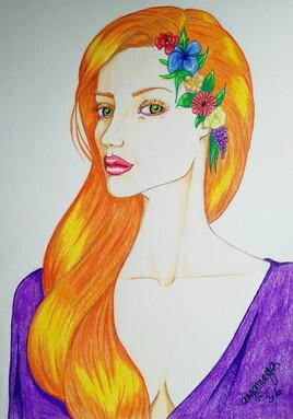 Portrait rousse aux fleurs.