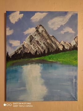 Montagne et herbe sur rive