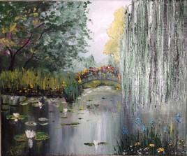saule et petit pont fleuri