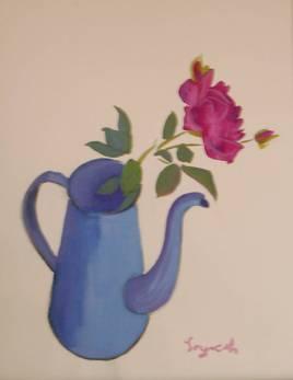 Rose dans une cafetière .