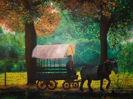 peinture paysage d'automne village