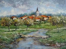 Village lorrain au printemps