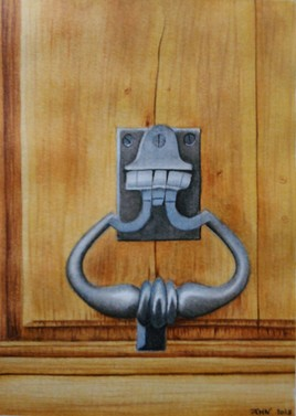 - Heurtoir porte en bois - (aquarelle)