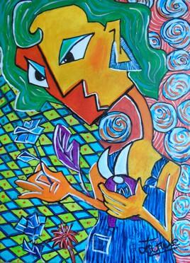 LA FLEURISTE 70 cm x 50 CM PEINTURE