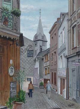 le haut de la rue des Lingots, à Honfleur