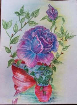 aquarelle gouache 49 la rose au verre brisé