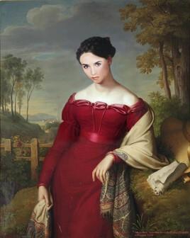 """""""la femme en rouge d'Eduard Friedrich Leybold revisitée par Adjani.."""