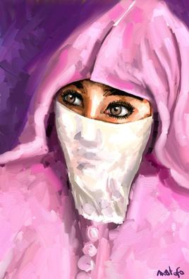 femme à la jellaba rose