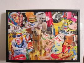 pop'art chien collage vernis encadre L71,5cmxH51cm A VENDRE en mp