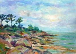 Peinture Concarneau : rochers au Cabellou