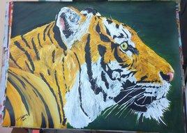 peinture acrylique sur papier Tigre 50x65cm