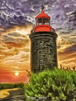 Coucher de soleil au phare de Granville