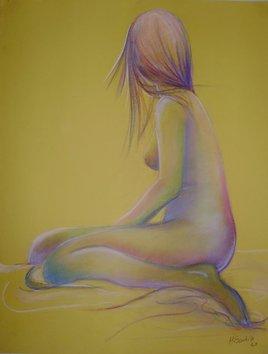 nue en fond jaune