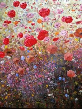 Peinture Champs fleuri