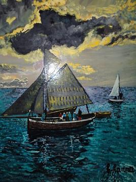 Tableau pienture bateau en mer