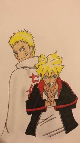 dessin de boruto et son père