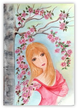 85...LA FILLE DU PRINTEMPS... (Aquarelle  canson 300g A3 )