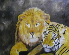 L'amitié d'un lion et d'un tigre