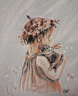 Petite fille au lapin