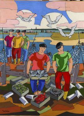 Peinture Trois mouettes par YVES DUBOS
