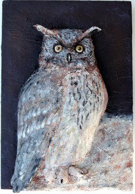 Hibou Grand Duc peinture en relief