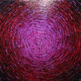 Peinture au couteau : Éclat de couleur rose magenta.