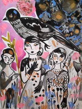 Oiseau et filles
