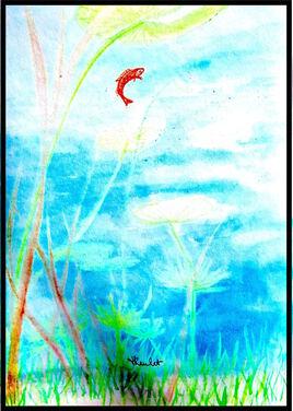 Paysage aquatique au poisson rouge / Painting Aquatic landscape with goldfish