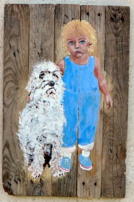 Deux copains peinture sur bois Jf Gantner