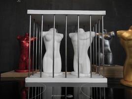 Buste Homme et femme nus dans une cage gay lesbienne int.