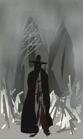 Peinture un homme.......surgi du brouillard.......