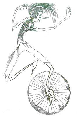 Dessin Le fabuliste en monocycle