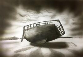 Epave bateau paysage N&B