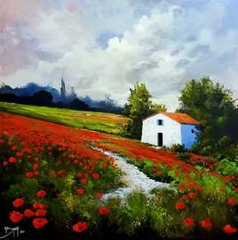 In the middle of the poppies - ©Bruni Eric. Tous droits réservés - Tableau peinture paysage