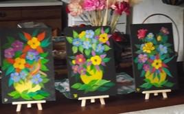 Fleurs sur ardoises