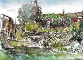 La Seine à Corbeil-Essonne, 1994, Encre et aquarelle sur papier chiffon, Format A4. Fait lors d'une