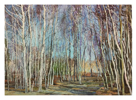 forêt de bouleau-aquarelle