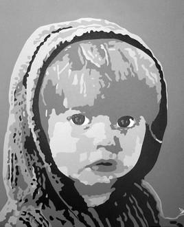 """Peinture pop art. """" Portrait enfant """""""