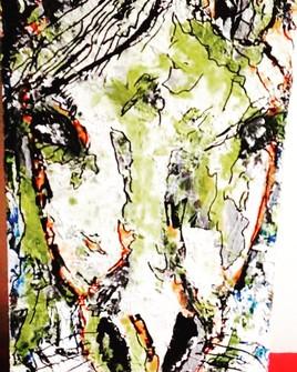 "Horse, 9""x15"" acrylique"