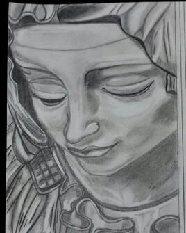 Statue de la Pieta au graphite