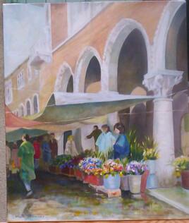 Venise , le marché aux fleurs aprésla pluie
