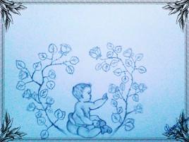 Dessin Bébé découvre un rosier