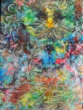 ELIE BERNARD ACRYLIQUE ART ABSTRAIT ORIGINALE SUR TOILE 35X65