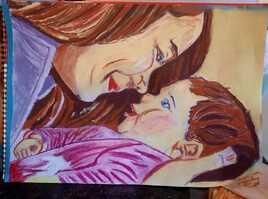 Dessin femme et enfant pastel sec